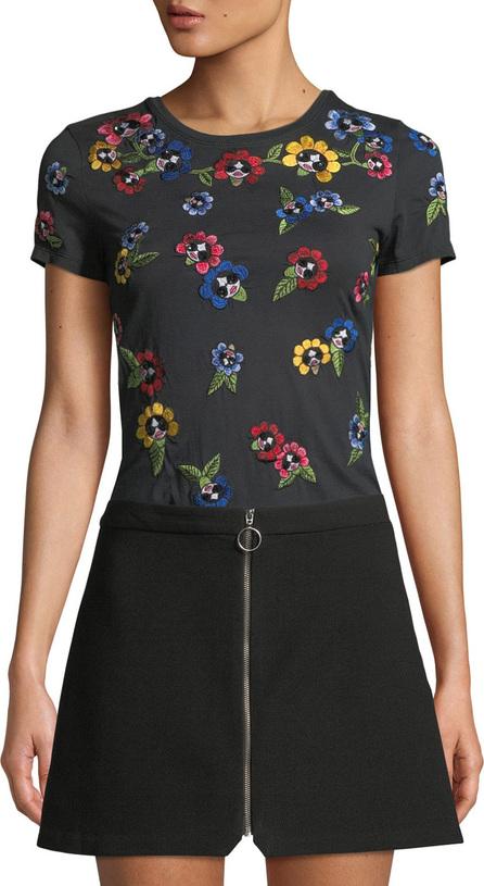 Alice + Olivia Rylyn Embroidered Short-Sleeve Crewneck Tee