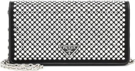 Prada Crystal-embellished leather clutch