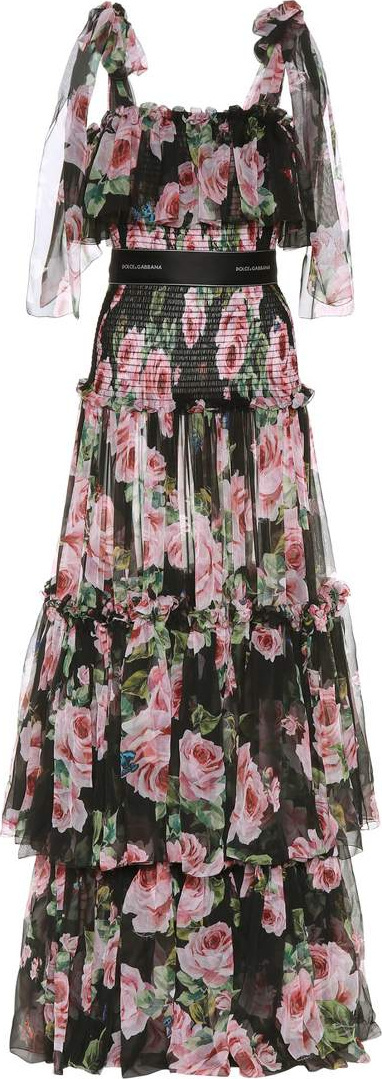 Dolce & Gabbana Floral-printed silk gown