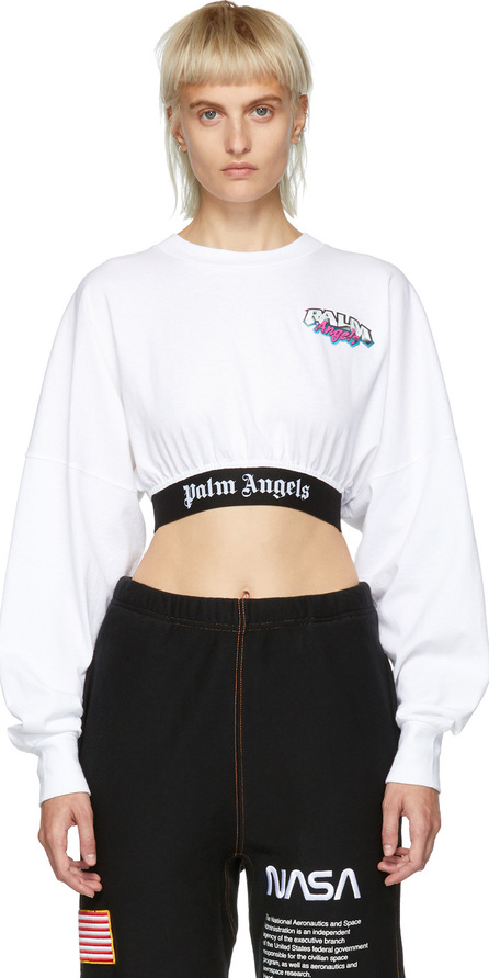 Palm Angels White Cropped Logo T-Shirt