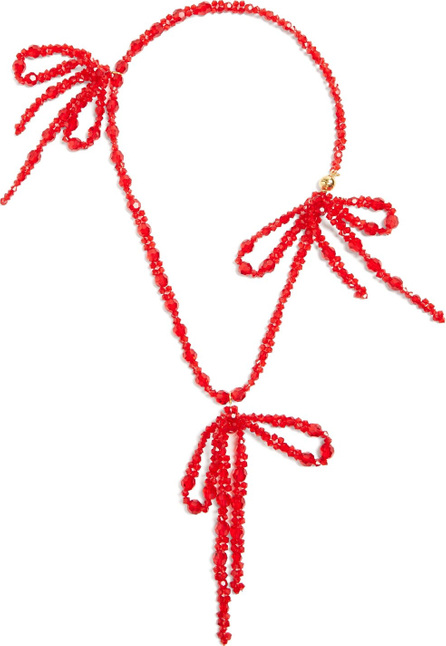 Simone Rocha Bow-embellished pendant beaded necklace