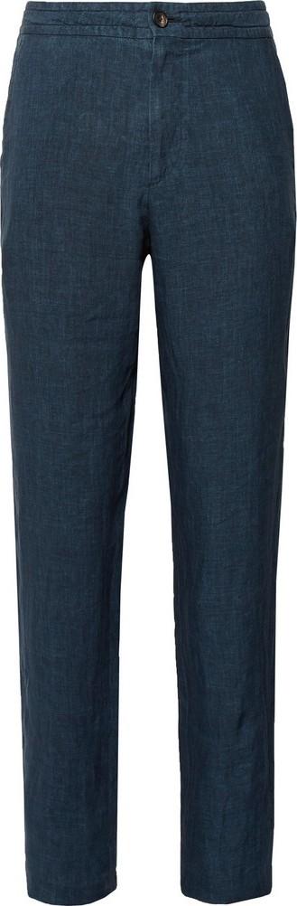 Ermenegildo Zegna Navy Tapered Mélange Linen Trousers