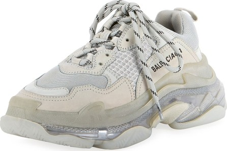Balenciaga Triple S Air Nylon Sneakers with Logo, Noir