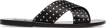 Ancient Greek Sandals Black Thais polka dot satin slides