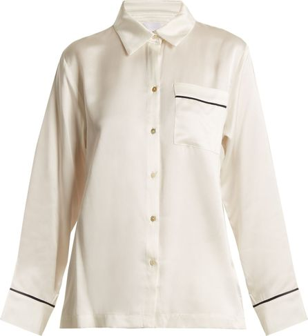 Asceno Piped-edge sandwashed-silk pyjama shirt
