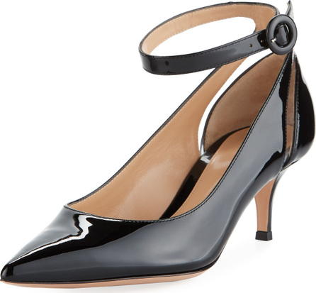Gianvito Rossi Shiny Patent Low-Heel Ankle-Strap Pumps