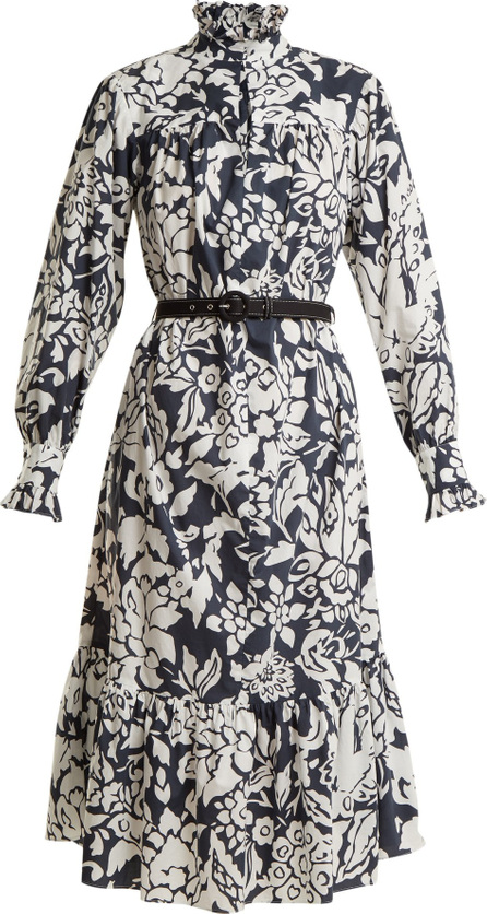 Alexachung Floral-print belted cotton-poplin dress