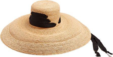 Lola Hats Espartina laced-grosgrain raffia hat