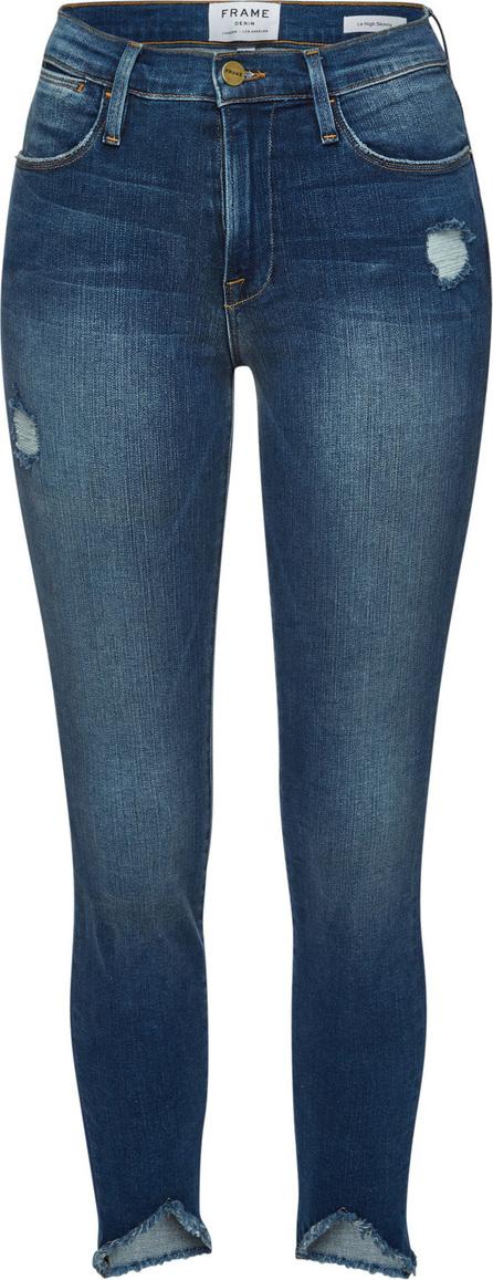 FRAME DENIM Le High Skinny Triangle Raw Hem Cropped Jeans