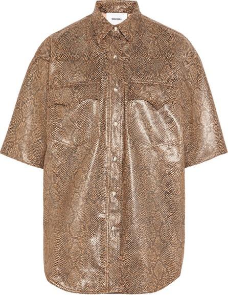 Nanushka Seymour snake-effect vegan leather shirt
