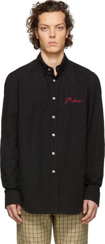 Balmain Black Cotton Signature Logo Shirt