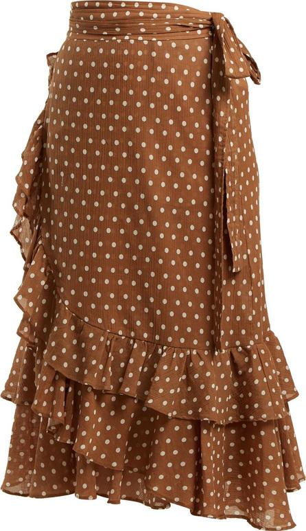 Lee Mathews Maisee polka dot-print cotton wrap skirt
