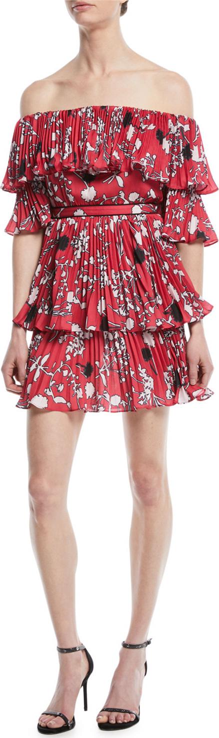 Self Portrait Pleated Off-the-Shoulder Floral-Print Mini Dress