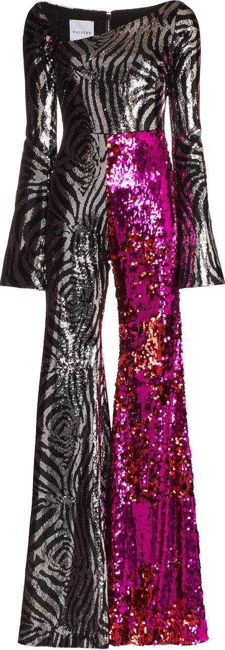 Halpern Zebra Sequin Embellished Jumpsuit