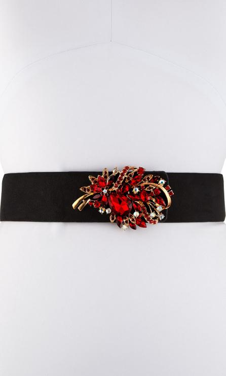 Deborah Drattell Teresa Suede Crystal Leaf Belt, Black/Red