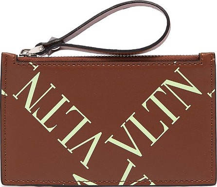 Valentino Logo cross print leather zip coin wallet