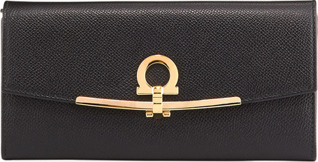 Salvatore Ferragamo Icona Leather Continental Wallet w/ Hanging ID Tag, Black