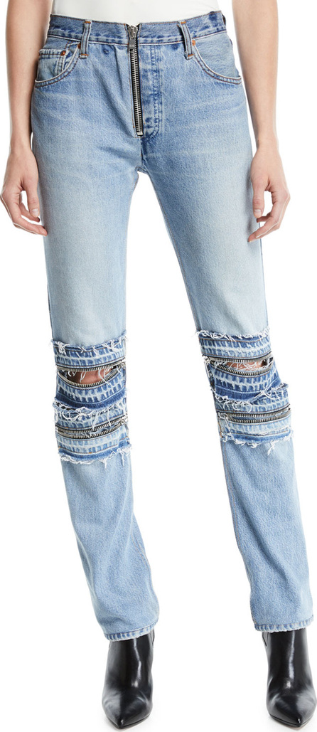RE/DONE Mid-Rise Straight-Leg Moto-Style Jeans