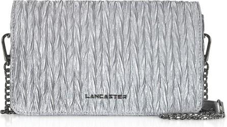 Lancaster Silver Quilted Satin Shoulder Bag