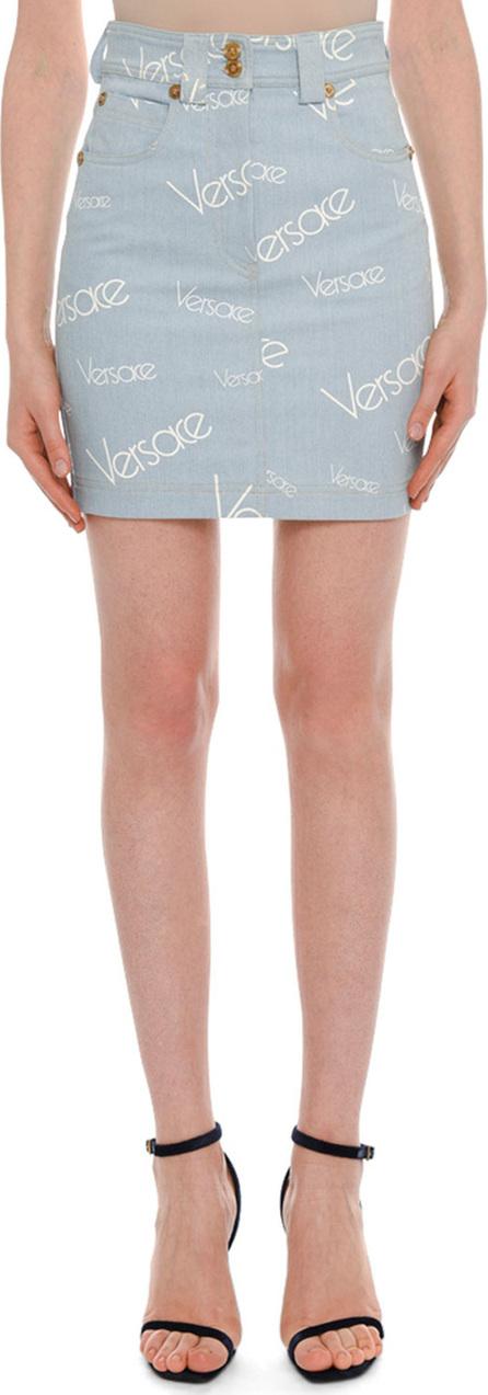 Versace High-Rise Logo-Print Knee-Length Denim Skirt