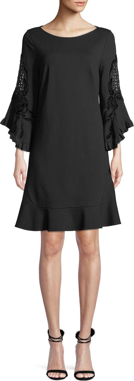 KOBI HALPERIN Klara Embroidered-Sleeve Shift Dress