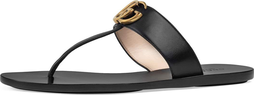 Gucci - Marmont Flat Leather Thong Sandal