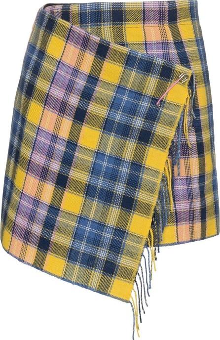 A Peace Treaty Clarke fringed wrap tartan mini skirt