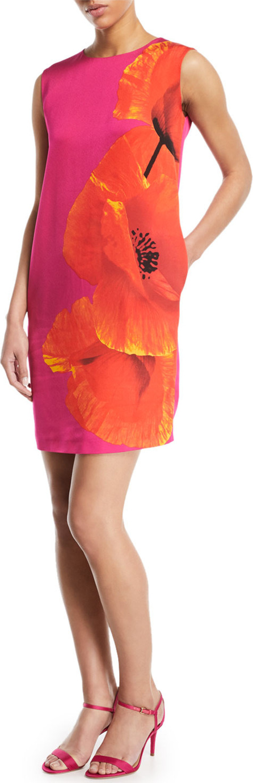 Escada Sport Sleeveless Orchid-Print Shift Dress