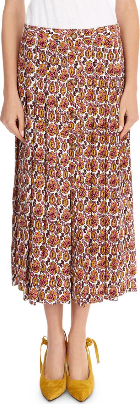 Victoria Beckham Paisley Crepon Pleated Silk Skirt