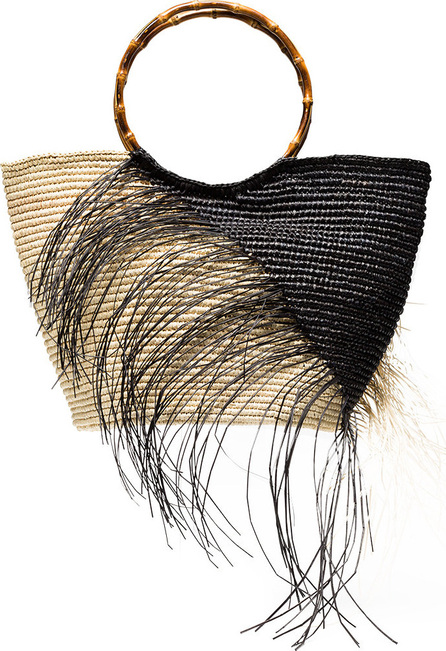 Sensi Studio Black and natural two tone frayed maxi straw tote