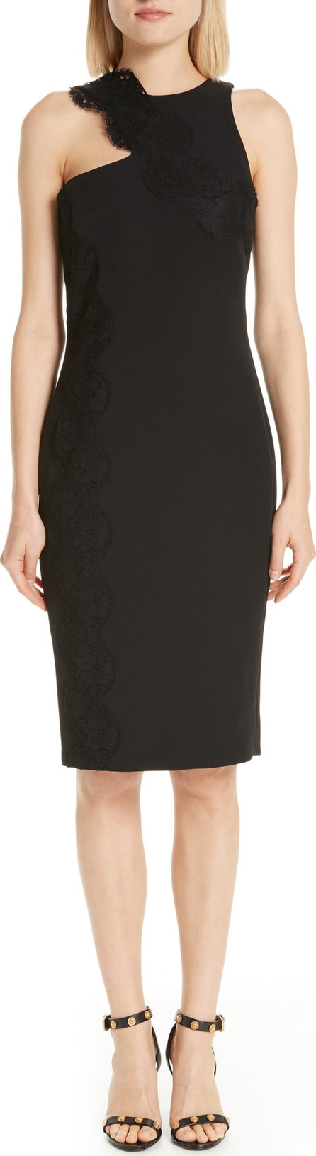 Versace Collection Lace Trim Cutout Sheath Dress