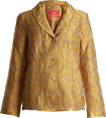 F.R.S For Restless Sleepers Arabesque shawl-lapel brocade jacket