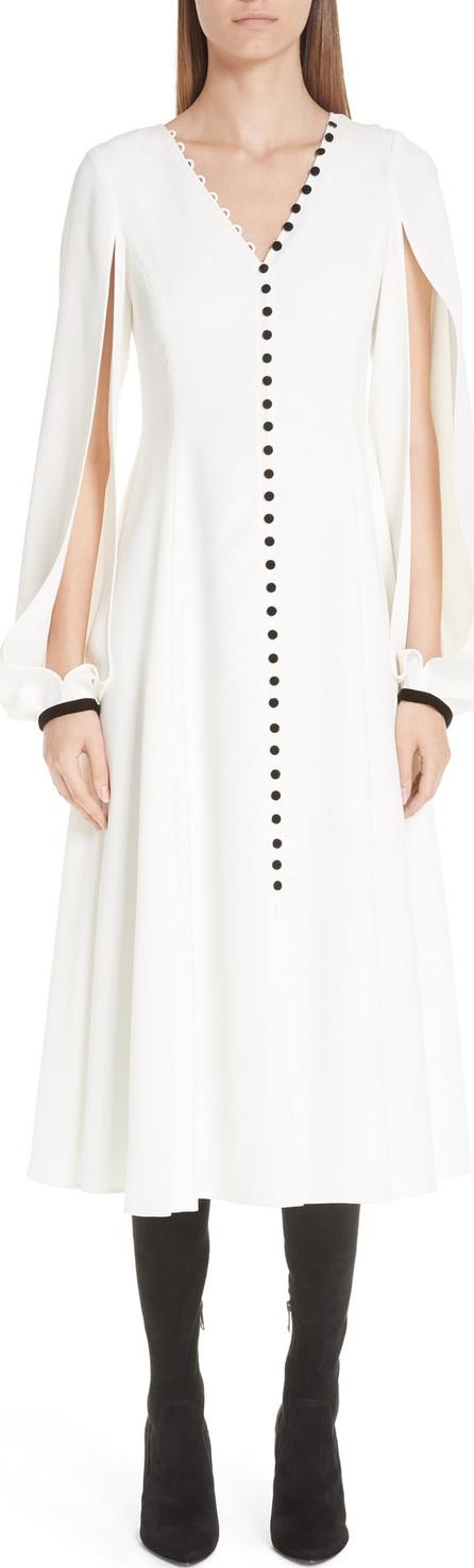 ADEAM Button Front Split Sleeve Dress