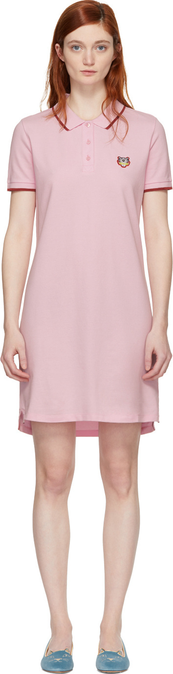 KENZO Pink Tiger Crest Polo Dress