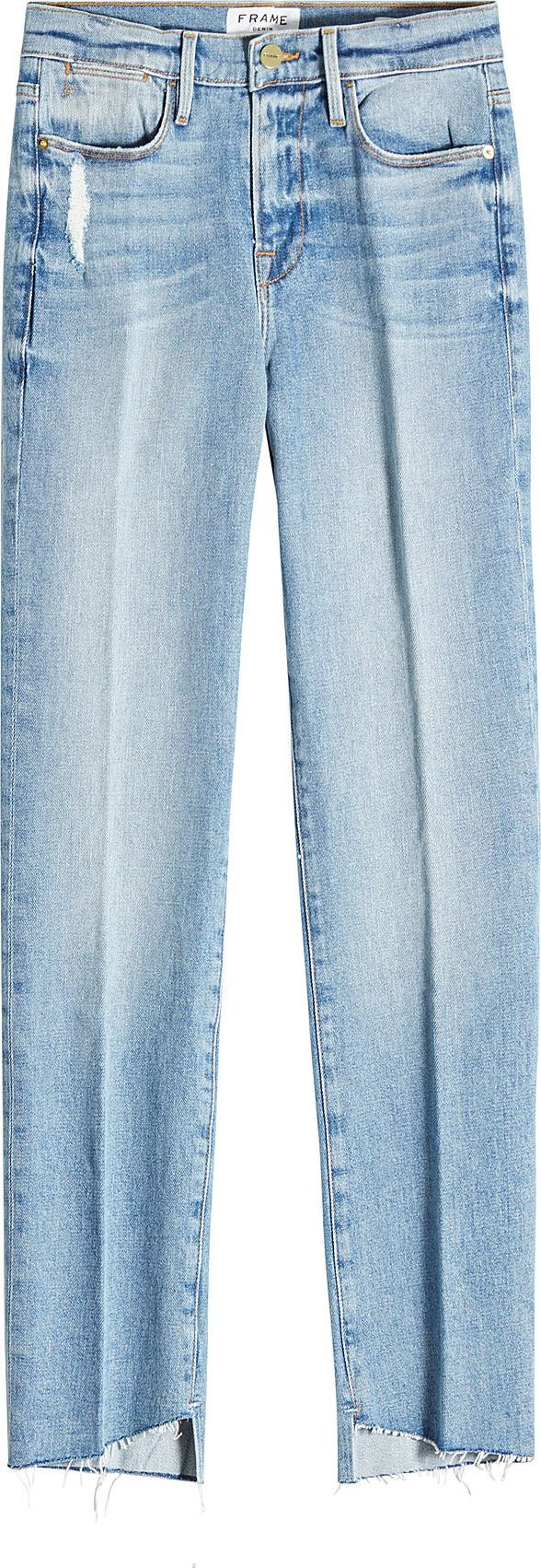 FRAME DENIM - Distressed Straight Leg Jeans with Asymmetric Hem