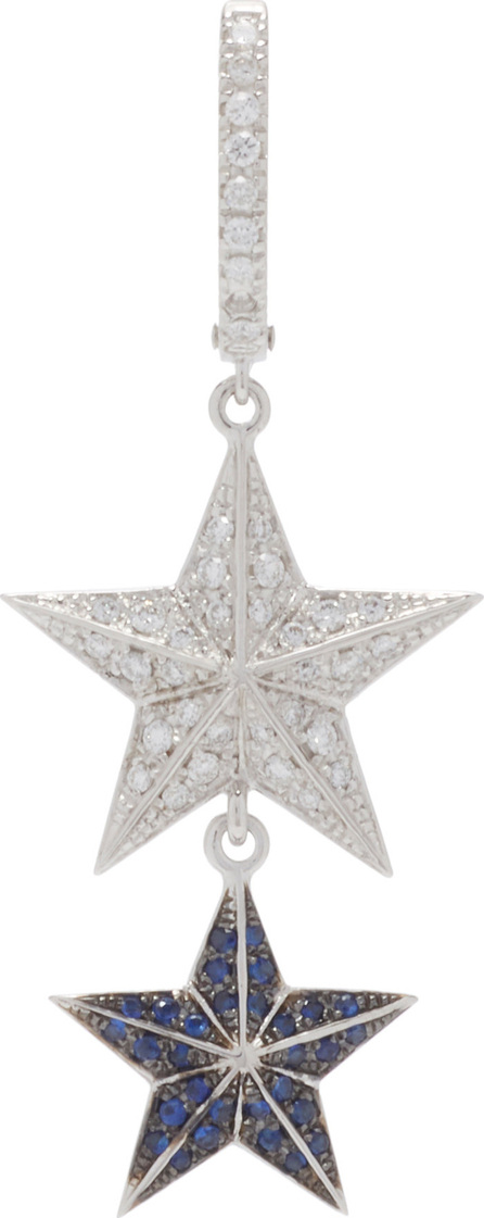 Marianna Goulandris Single 14K Gold, Sapphire, and Diamond Star Earring