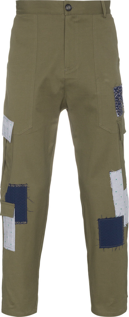 78 Stitches Green and blue patchwork cotton trousers