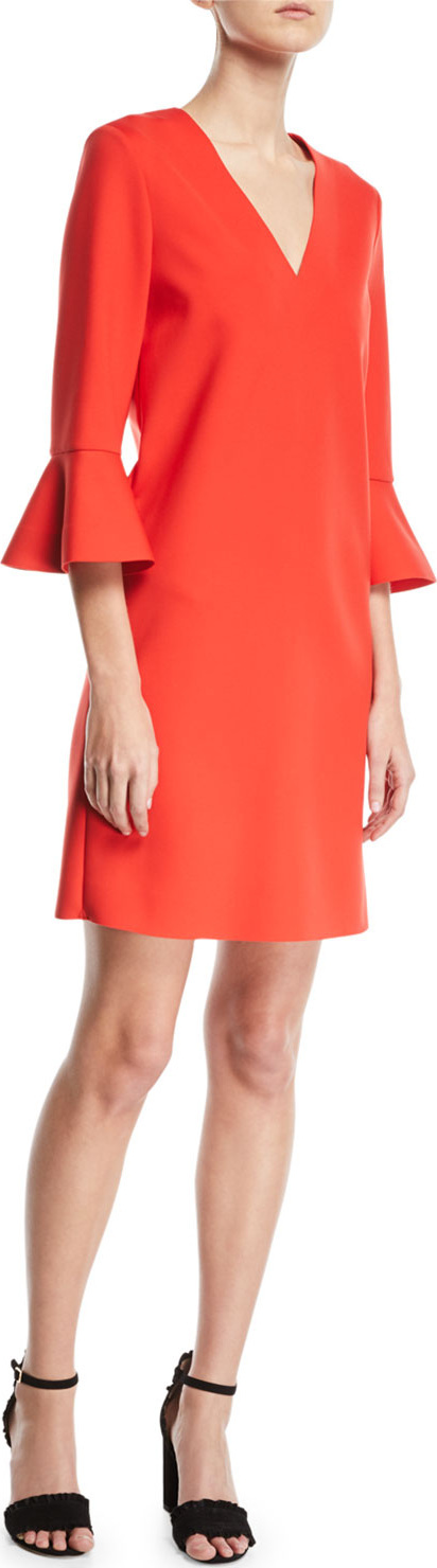 Escada Sport V-Neck 3/4 Bell-Sleeve Crepe Dress