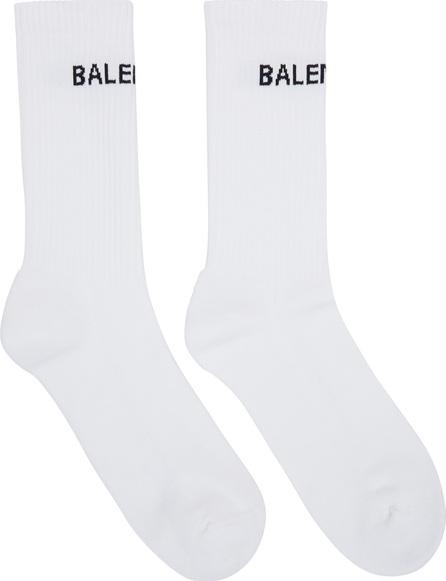 Balenciaga White New Logo Tennis Socks