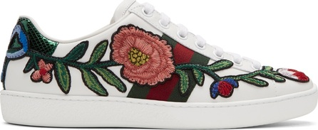 Gucci White Floral & Bow Ace Sneakers