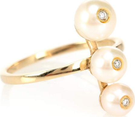 Anissa Kermiche Ménage à Trois 14kt gold pearl and diamond ring