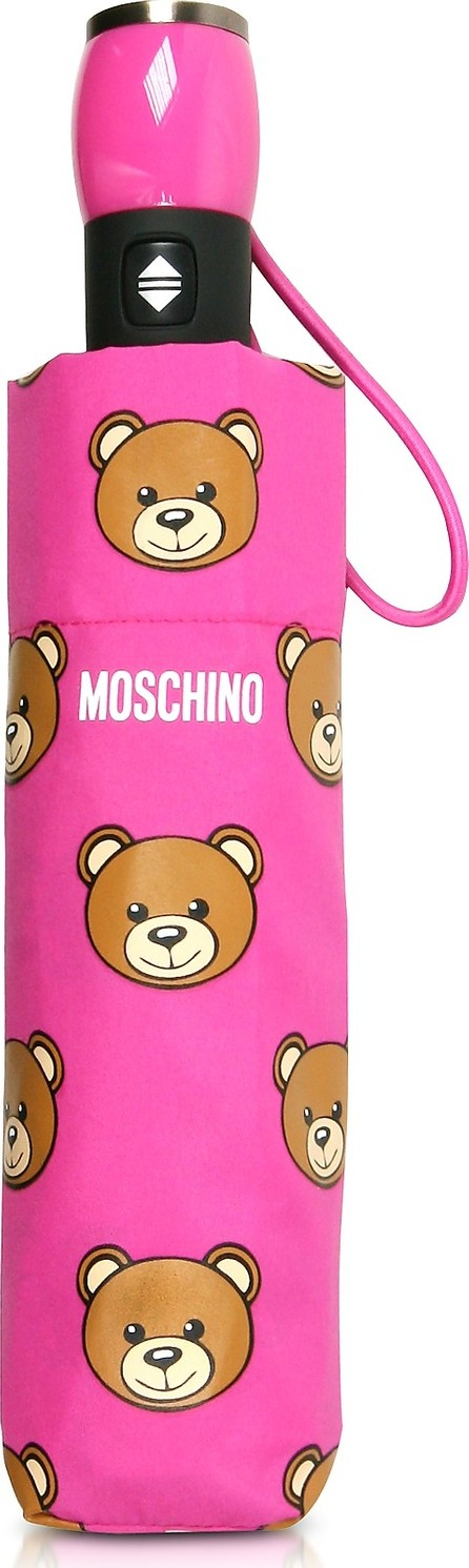Moschino Teddy Heads Fuchsia Mini Umbrella