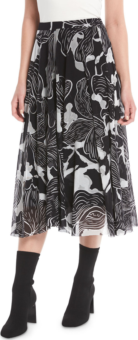 Fuzzi Graphic Floral-Print Tulle A-Line Skirt