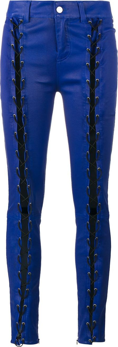 Filles A Papa skinny lace-up leather trousers