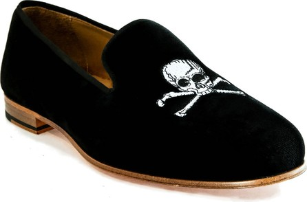 Romero + McPaul Men's Velvet Skull Loafers