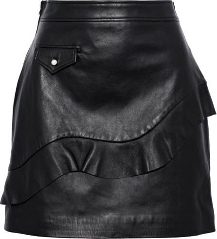 Sandro Apollo ruffled leather mini skirt