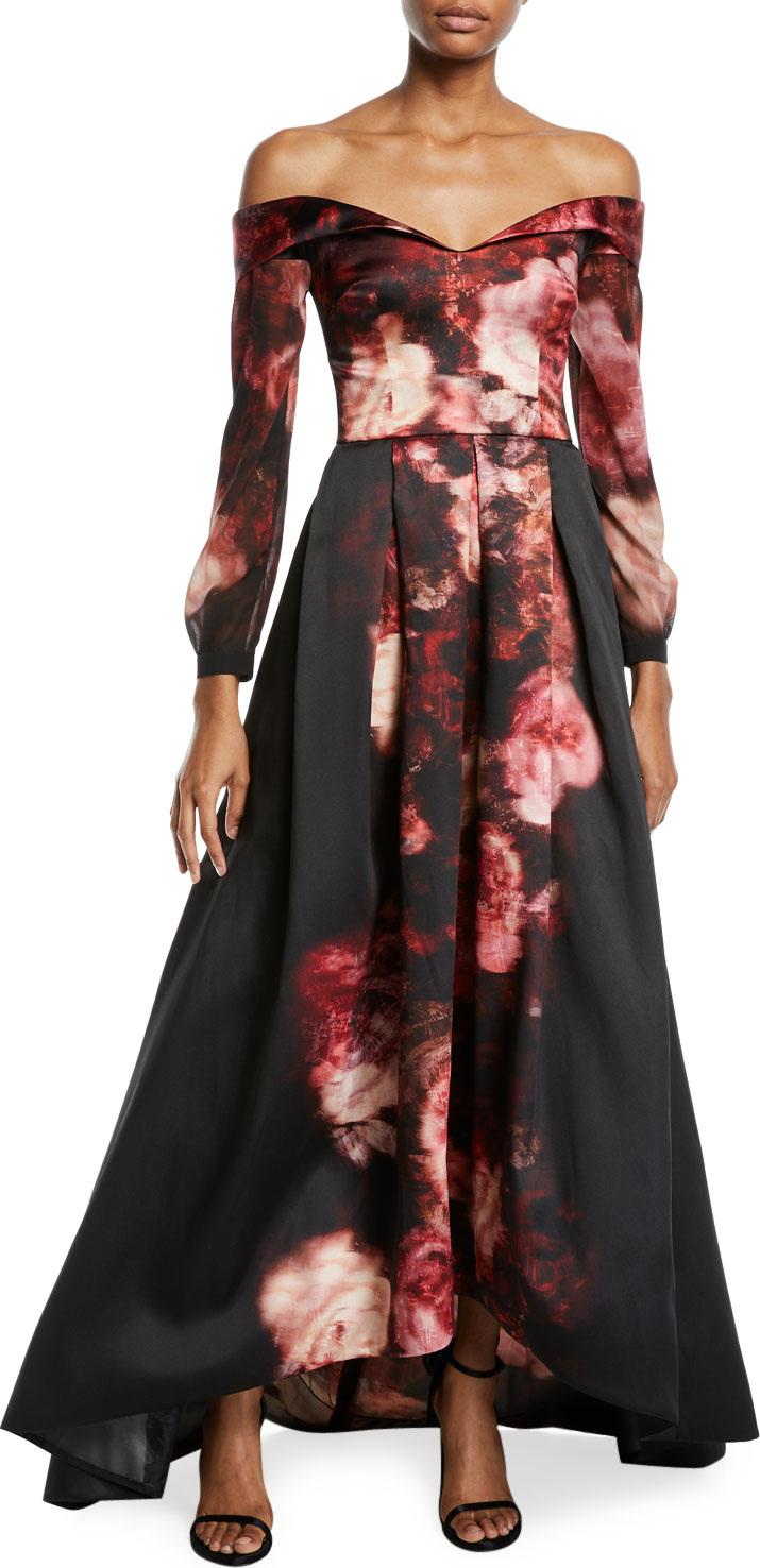 David Meister Off-the-Shoulder Long Rose-Print Gown in Red - mkt