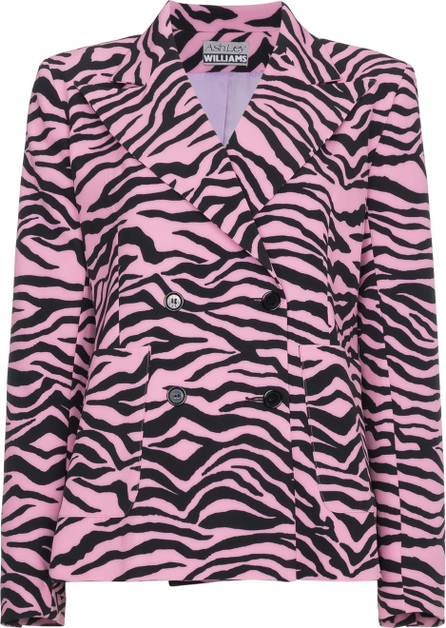 Ashley Williams Tiger print double breasted blazer