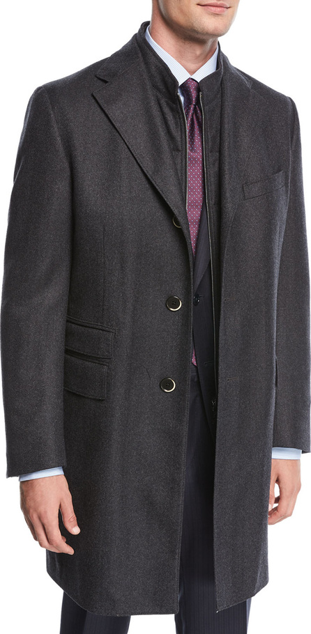 Corneliani Single-Breasted Herringbone Wool Top Coat