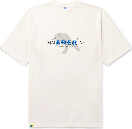 Maison Kitsune + ADER error Oversized Logo-Embroidered Printed Cotton-Jersey T-Shirt